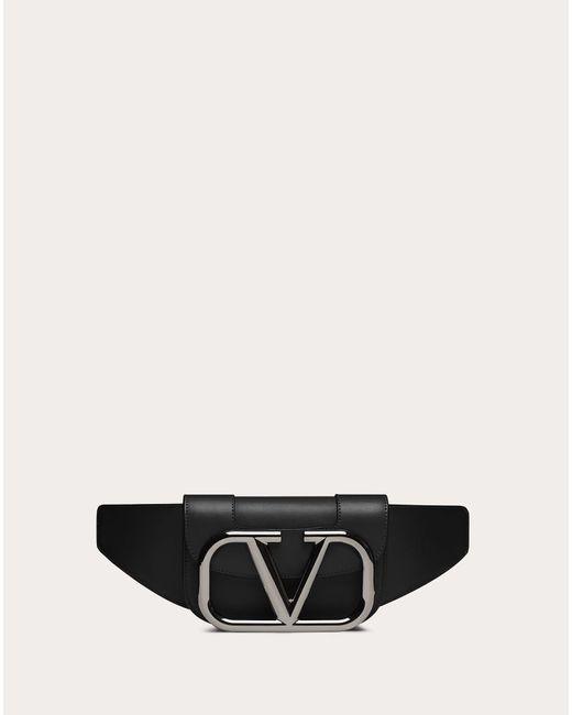 メンズ Valentino Garavani Valentino Garavani スーパーvee レザー ベルトバッグ Black