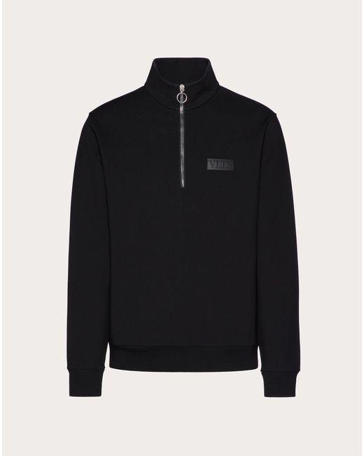 メンズ Valentino Valentino Vltn タグ エンブロイダリー ビスコース スウェットシャツ Black