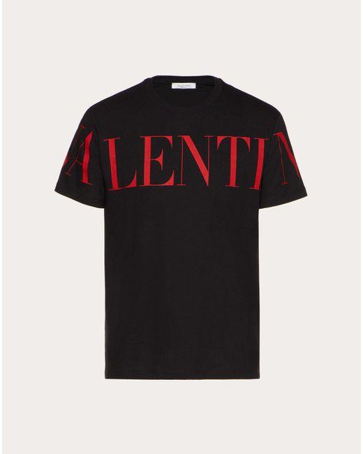 メンズ Valentino ブラック ロゴ T シャツ Black