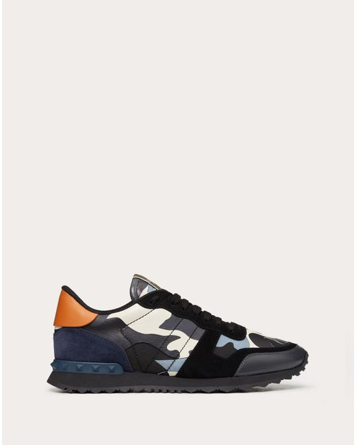 Valentino Gray Garavani Rockrunner Camouflage-print Canvas, Leather And Suede Sneakers for men