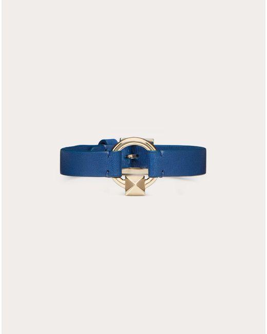 メンズ Valentino Garavani レザー ブレスレット Blue