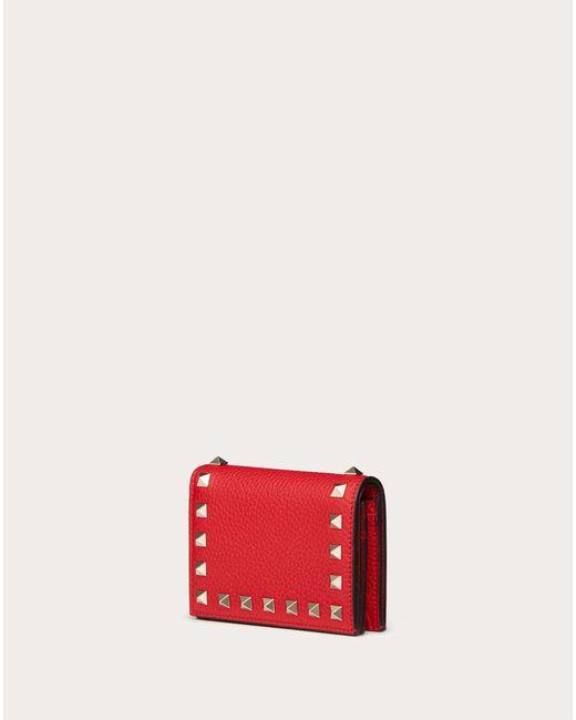 Portafoglio Piccolo Rockstud In Vitello Granato di Valentino Garavani in Red