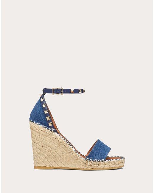 Valentino Blue Garavani Rockstud 95mm Wedge Sandals