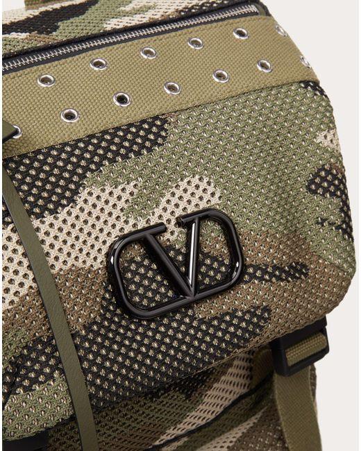メンズ Valentino カモフラージュ メッシュファブリック バックパック Green