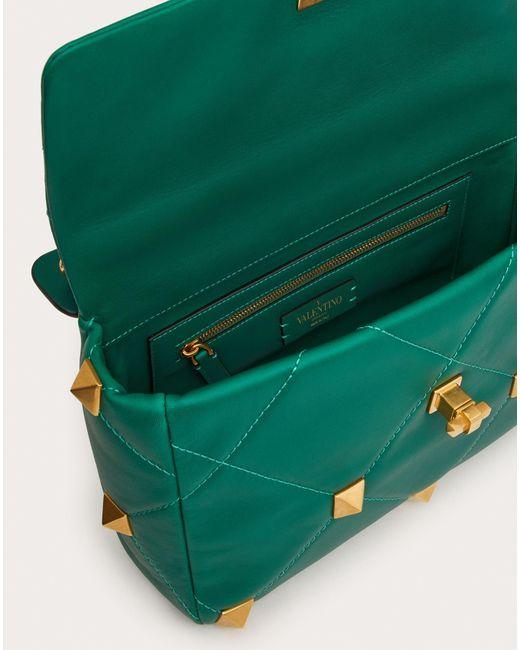 Valentino Garavani Green Valentino Garavani große tasche roman stud the shoulder bag aus nappaleder mit kettenriemen