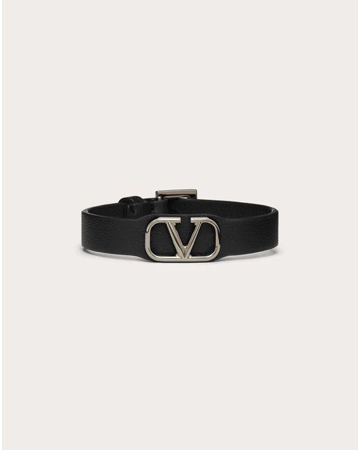 メンズ Valentino Garavani Vロゴ シグネチャー レザー ブレスレット Black