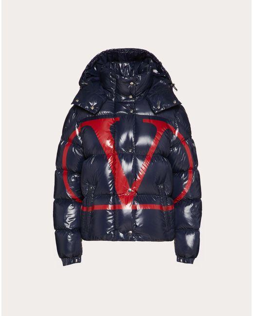 Valentino Blue Moncler Vlogo Lacquered Nylon Padded Jacket