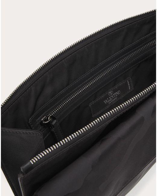 メンズ Valentino ナイロン カモフラージュ ノワール ラージクラッチ Black