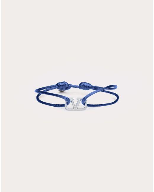 メンズ Valentino Garavani Vロゴ シグネチャー コットン ブレスレット Blue