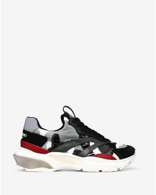 Valentino Gray Bounce Leather-trimmed Sneakers