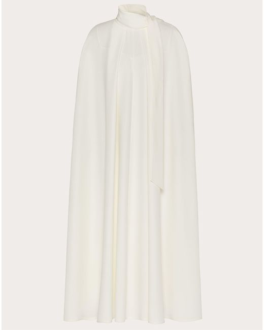 Vestido Tipo Capa De Cady Couture Valentino de color White