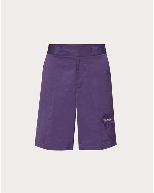 メンズ Valentino Valentino メンズガーデン ナイロン バミューダパンツ Purple