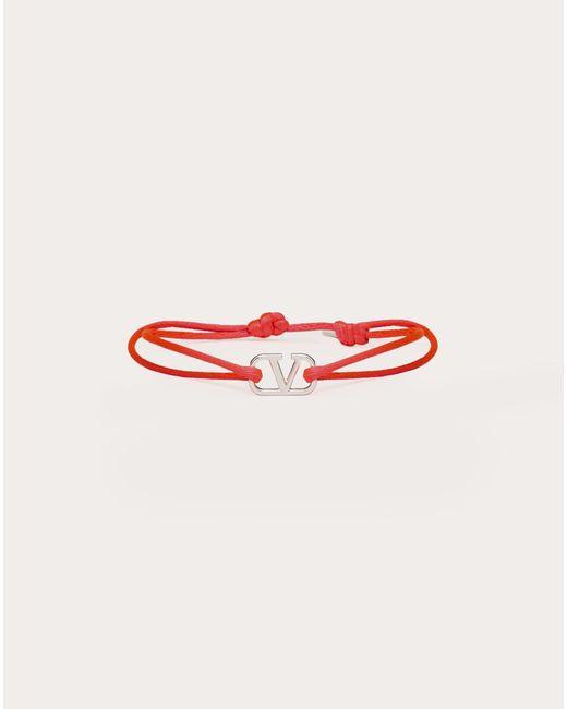 メンズ Valentino Garavani Vロゴ シグネチャー コットン ブレスレット Red