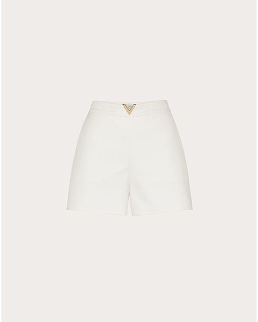 Valentino White Shorts vgold aus double splittable gabardine