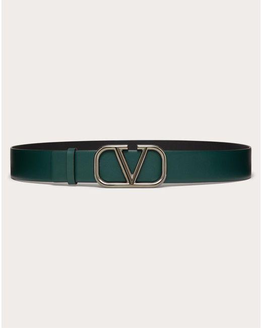 Valentino Garavani Green Vlogo Signature Calfskin Belt for men
