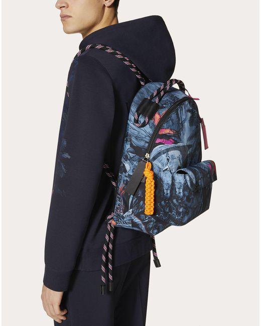 メンズ Valentino ナイロン ミューラルジャングル バックパック Blue