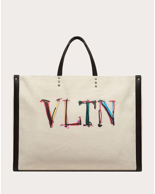 メンズ Valentino Garavani Valentino Garavani Vltnグラフ キャンバス ラージ トートバッグ Natural