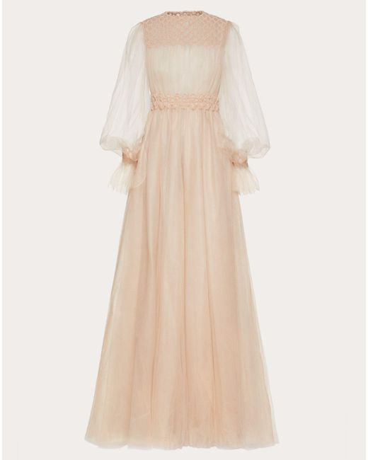 Valentino Natural Embroidered Tulle Evening Dress