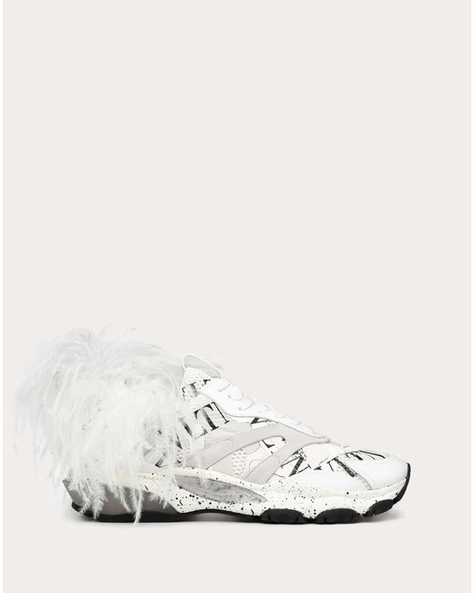 Valentino White Valentino Garavani Bounce Camouflage Trainer With Vltn Grid And Feathers for men