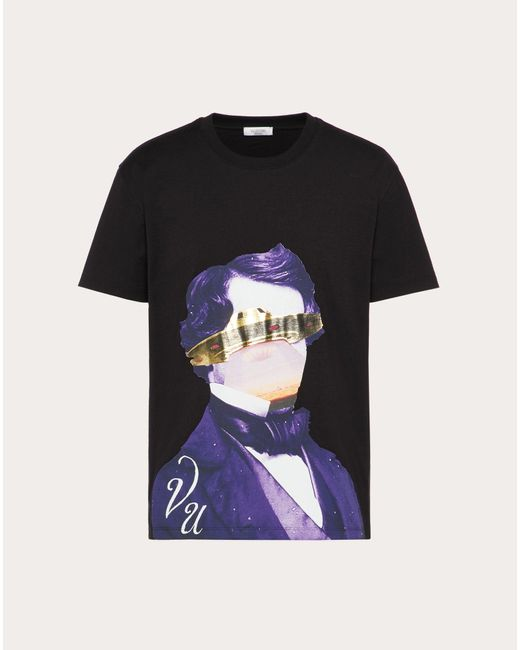Valentino Black X Undercover V Face Ufo Print Tee for men