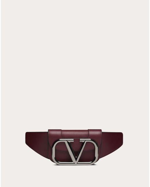 メンズ Valentino Garavani スーパーvee レザー ベルトバッグ Red