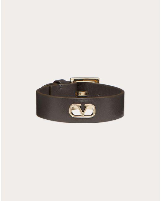 メンズ Valentino Garavani Vロゴ シグネチャー レザー ブレスレット Multicolor