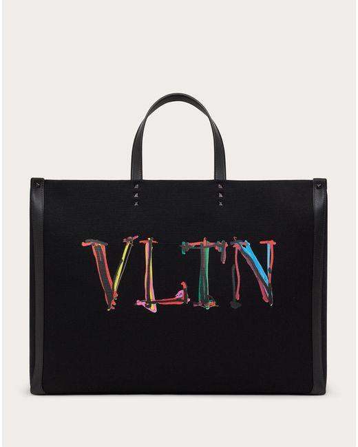 メンズ Valentino Garavani Valentino Garavani Vltnグラフ キャンバス ラージ トートバッグ Black