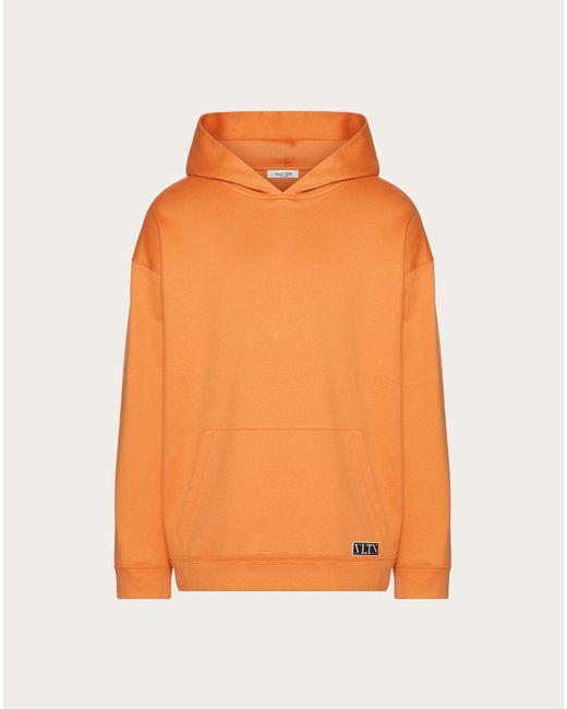 メンズ Valentino Valentino Vltn タグ フード付きスウェットシャツ Orange