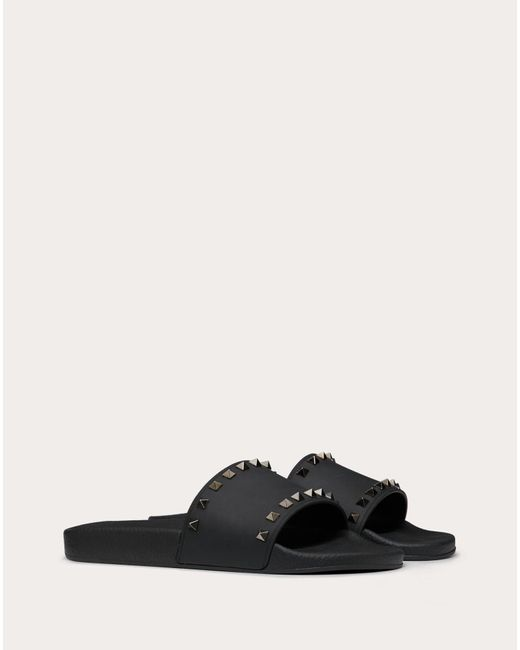 Valentino Black Valentino Garavani Rockstud Rubber Slider Sandal for men