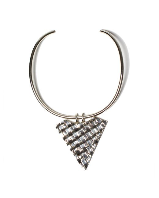 Anndra Neen | Metallic Thatched Triangle Choker | Lyst
