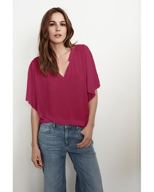 Velvet By Graham & Spencer | Multicolor Yelena Rayon Challis Ruffle Neck Top | Lyst