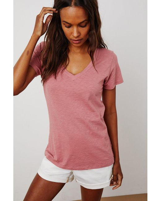Velvet By Graham & Spencer Pink Lilith Cotton Slub V-neck Tee