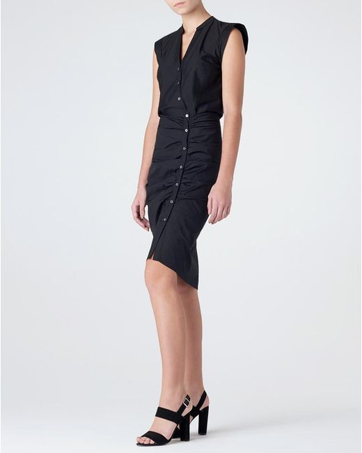Veronica Beard | Black Ruched Shirt Dress | Lyst