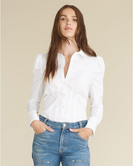 Veronica Beard White Gilan Puff-sleeved Top