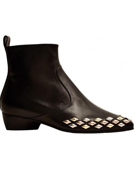 Louis Vuitton | Black Pre-owned Leather Ankle Boots | Lyst
