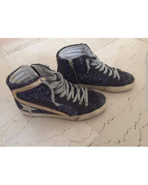 Golden Goose Deluxe Brand Blue Slide Sneakers