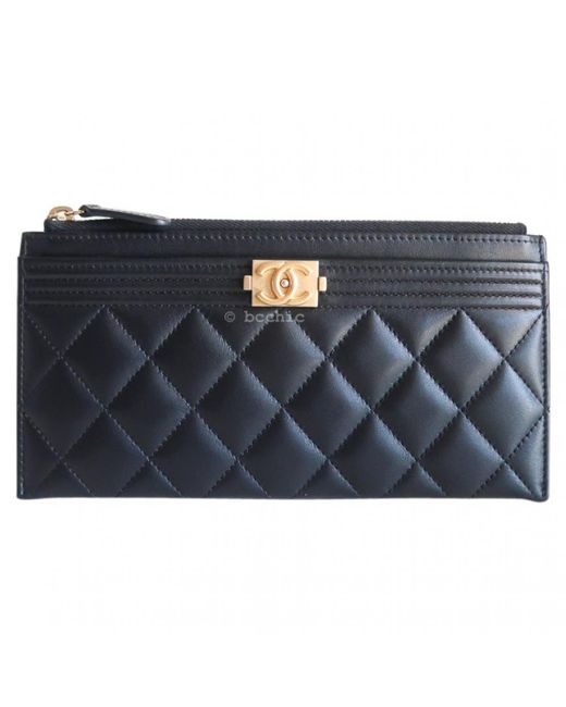 5d1a0ce9fc1b Lyst - Chanel Pre-owned Boy Black Leather Purses, Wallets & Cases in ...