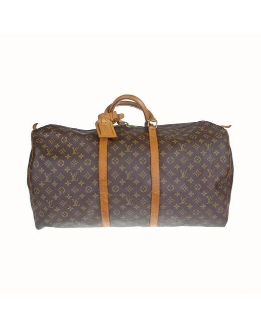 Louis Vuitton - Brown Keepall Cloth Travel Bag - Lyst