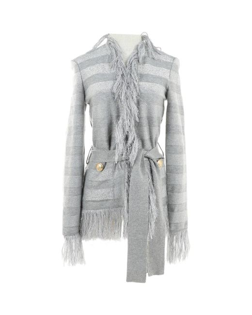 Balmain Gray Grey Wool Jacket