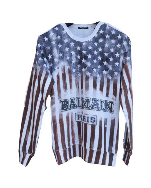 Balmain - Blue Cotton Knitwear & Sweatshirt for Men - Lyst