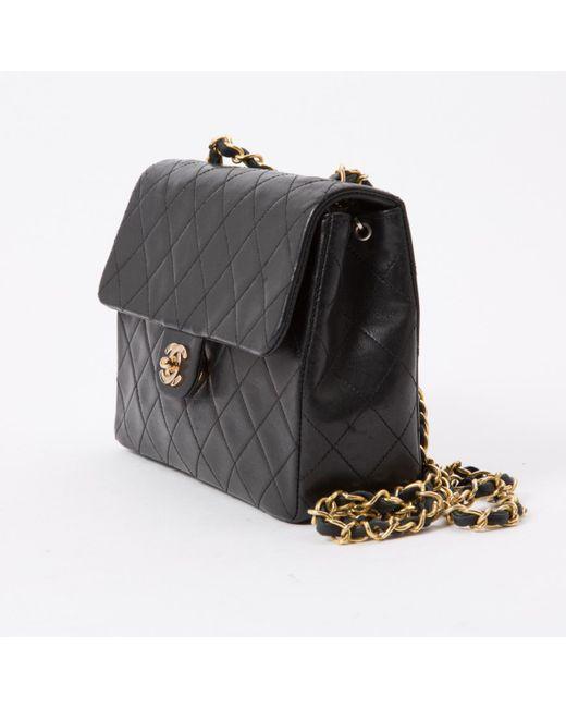 c59ae0421436 ... Chanel - Vintage Timeless/classique Black Leather Handbag - Lyst ...