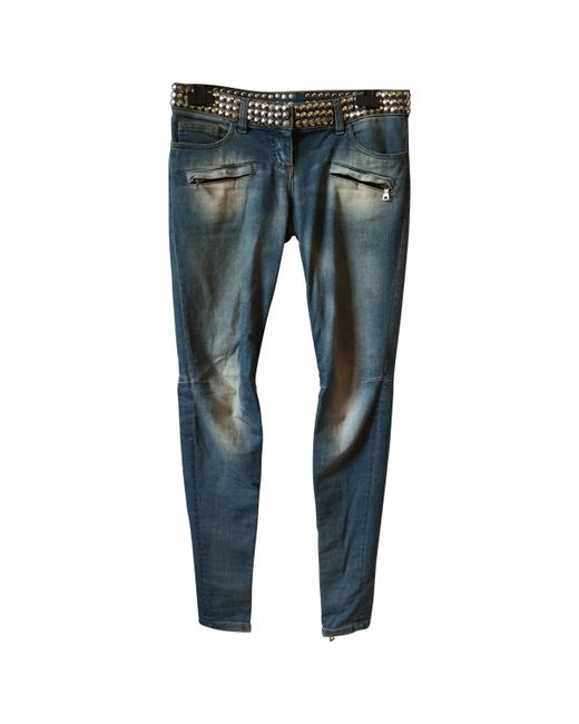 Balmain | Blue Pre-owned Studded Jeans | Lyst