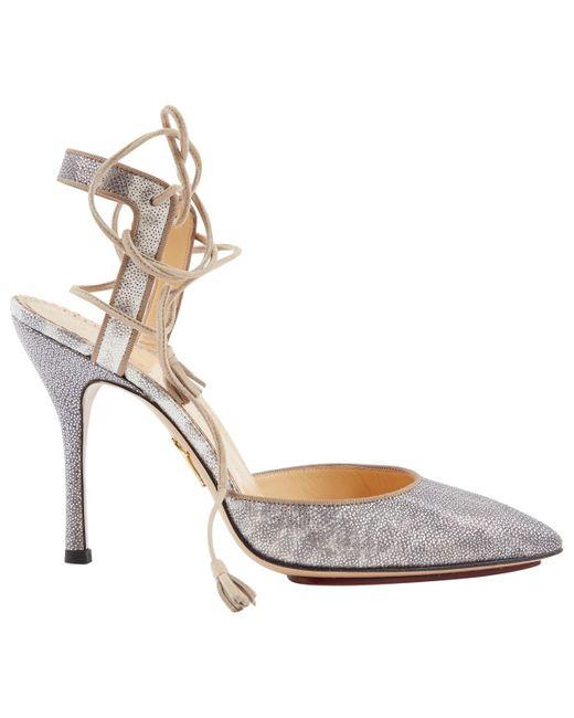Charlotte Olympia Metallic Silver Lizard Heels