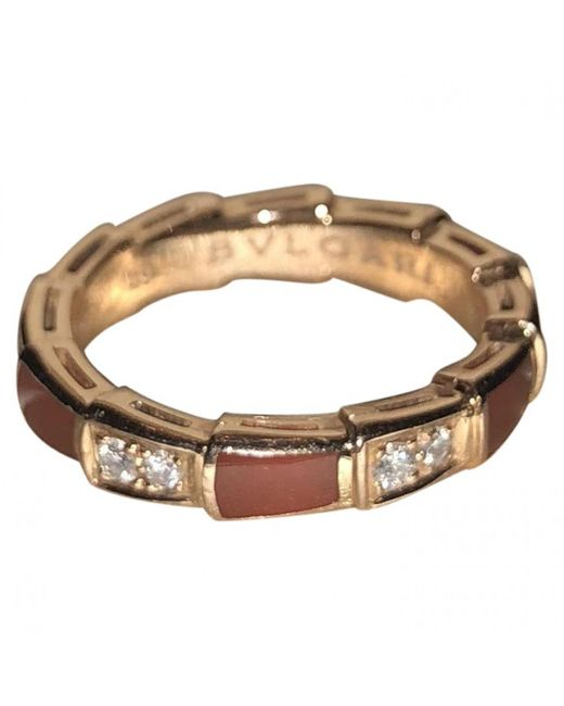 BVLGARI - Metallic Serpenti Other Pink Gold Ring - Lyst