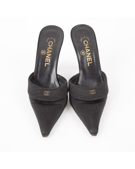 c49156a74 Lyst - Chanel Pre-owned Black Cloth Sandals in Black