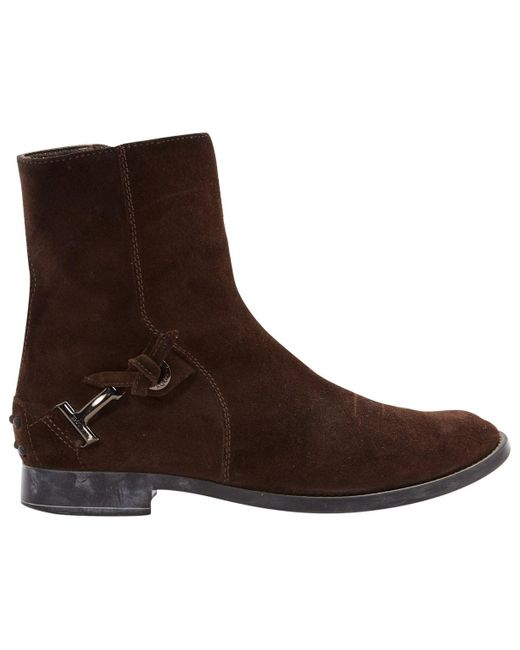 Tod's Brown Suede Ankle Boots