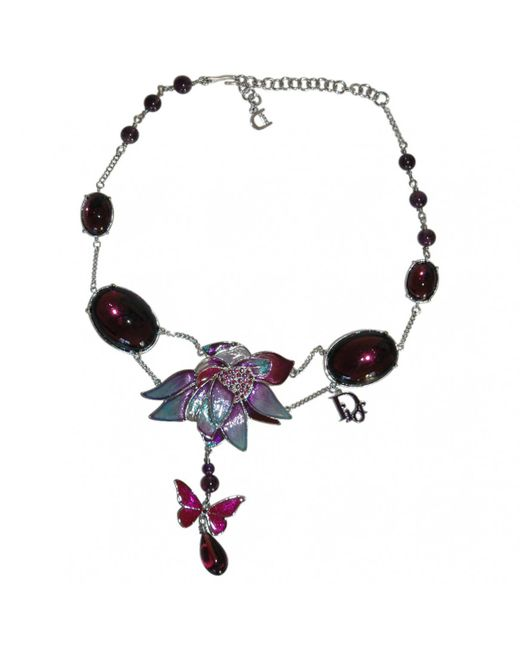 Dior - Purple Metal Necklace - Lyst