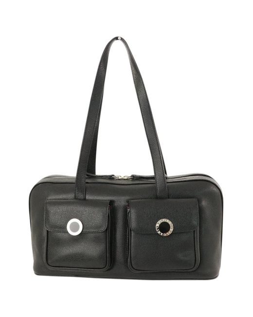 BVLGARI \n Black Leather Travel Bag