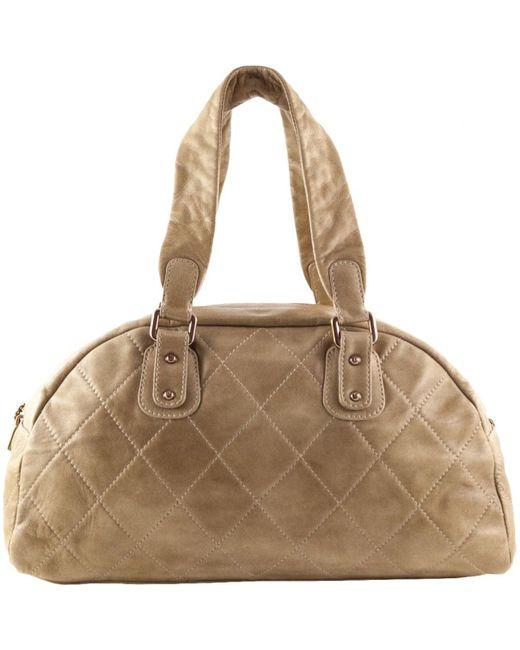 Chanel - Natural Beige Leather Handbag - Lyst