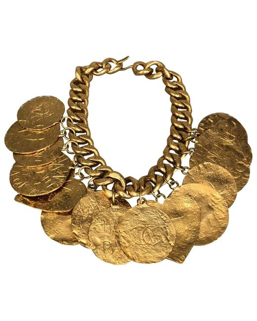 Chanel - Metallic Vintage Gold Metal Necklace - Lyst